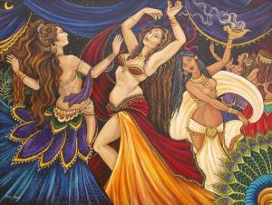belly-dancing hips sway: Eastern portrayal