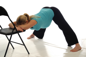 wide leg fwd bend with chair